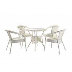 Комплект Deco/4 (круглый стол + 4 кресла) белого цвета